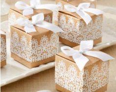 Wedding Favor Boxes, Ring Box, Kraft Favor Box, White Lace Favors, Set of 20