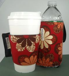 Whats Up Your Sleeve Gift Set Fabric Coffee Sleeve with Insulated Water Sleeve Rust Flowers