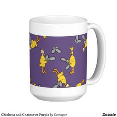 Chickens and Chainsaws Purple Classic White Coffee Mug
