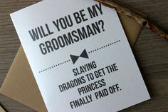 Will you Be my Groomsman Card Funny Will you Be by PattersonPaper