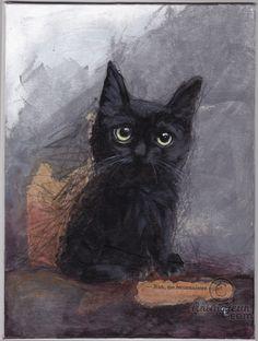 NAN - VENDU - SOLD - Peinture, 18x24x0,3 cm ©2015 par evafialka - Art figuratif, Toile, Animaux, Chats, chaton, kitty, black cat, chat noir, acrylic painting