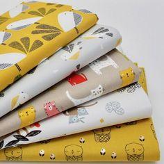 FQ Bundle - Dashwood Mustard Critters x 5 - Fat Quarter - Cotton Fabric Patchwor | eBay Gingham Fabric, Cotton Quilting Fabric, Unicorn Cat, Fabric Animals, Haberdashery, Fat Quarters, Dressmaking, Printing On Fabric, Mustard