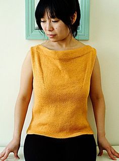 Free easy knitting pattern for Petrie Shell Top - Beautia Dew was inspired by the classic 60s style of Laura Petrie to create this sleeveless tank top with draped boatneck. Sizes XS (S, M, L, 1X, 2X, 3X)