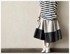 Causel Loose Cotton Big Long Women Skirt Long Skirt via Etsy