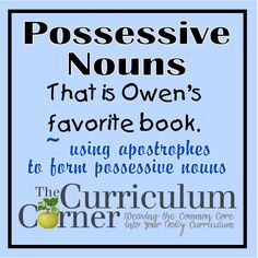 Ideas on how to teach possessive nouns during your writing workshop.  Includes a list of mentor texts for examples.  FREE fromwww.thecurriculumcorner.com