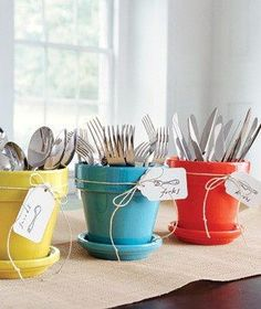 Cutlery holders using painted pots, great for a party or BBQ....