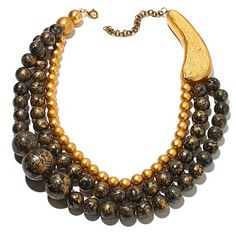 Rara Avis by Iris Apfel Black Lace and Gold-Color Foil 3-Row Necklace