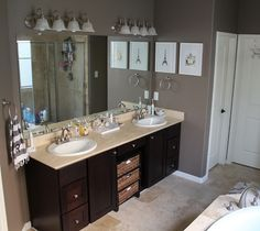 I like the vanity. We would each have our own drawers and space in the middle to store things.