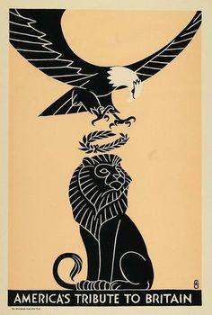 Frederic G. Cooper - Original Woodcut Design 1917 World War One Poster - America's Tribute To Britain Retro Poster, Vintage Posters, Vintage Prints, Vintage Art, Ww1 Posters, Political Posters, Political Satire, Propaganda Art, Communist Propaganda