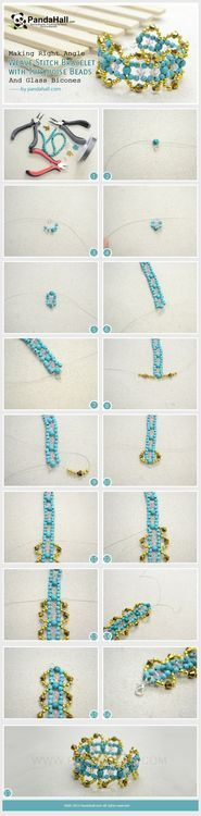 Jewelry Making Tutorial-Making Angle Weave Stitch Bracelet with Turquoise and Glass Beads