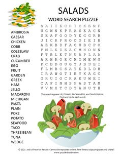 Salad Word Search Puzzle - Puzzles to Play