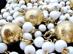 "Vintage Milk White Glass Necklace Beads Gold Tone Flapper Length 60"" Long   eBay"