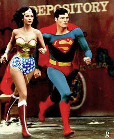 Superman and Wonder Woman: Amazing race 3 Superman Man Of Steel, Superman Wonder Woman, Race 3, Superhero Villains, Lynda Carter, Amazing Race, Hero Arts, Dc Universe, Justice League