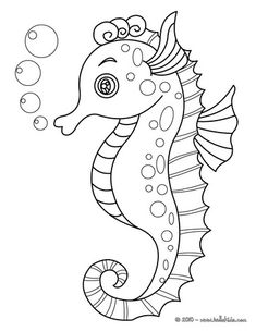 coloring pages: Seahorse // Página para colorear caballito de mar