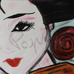 Elegance - 40x40 cm. Acrilc on canvas #GEISHA