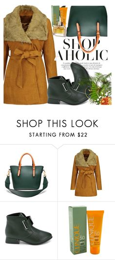 """""""Plus Size Belted Fur Collar Coat"""" by selmir ❤ liked on Polyvore featuring Clinique and Burberry"""