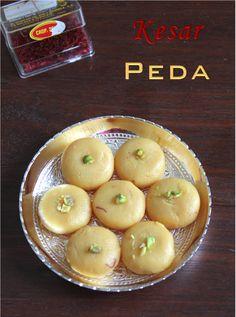 Jaya's recipes: Kesar Peda/Milk Kesar Peda