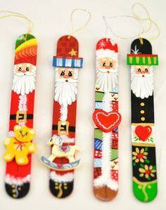 CLAUS COLLECTION Hand Painted Tongue Depressor Christmas Ornaments A good reason to get out my tole painting stuff. painted popsicle sticksA good reason to get out my tole painting stuff. Painted Christmas Ornaments, Noel Christmas, How To Make Ornaments, All Things Christmas, Winter Christmas, Christmas Decorations, Santa Ornaments, Popsicle Crafts, Craft Stick Crafts