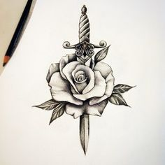 rose dagger traditional tattoo #rose #dagger #Tattooflash #traditionaltattoo #tattooideas