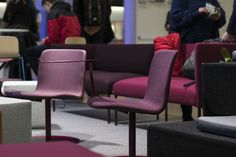 The Sola lounge chairs with a swivel disc base and a laptop table. Behind them are the Noora sofas. Laptop Table, Contract Furniture, Sofa Chair, Lounge Chairs, Color Inspiration, Sofas, Upholstery, Base, Home Decor