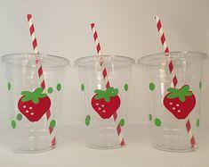 Strawberry party cups, Strawberry Birthday Party, Farmers Market Party, Strawberry Party Favors