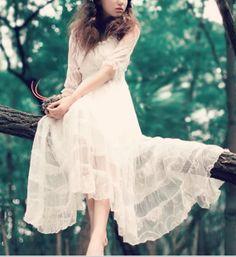 Maxi dress lace dress long dress white dress spring by 1000love, $99.99