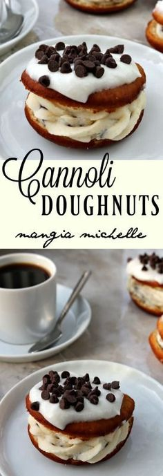 Cannoli doughnuts give you the best of breakfast and dessert. A moist doughnut filled with decadent cannoli cream is a dream come true ~ Baked Donut Recipes, Baked Donuts, Recipe Doughnuts, Best Donut Recipe, Breakfast Dessert, Eat Dessert First, Delicious Donuts, Delicious Desserts, Healthy Donuts