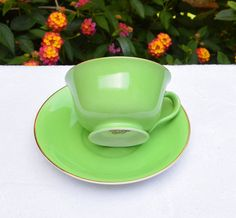 Vintage Noritake Cup Saucer Hand Painted Green Gold Edge by YPSA