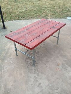 My coffee table inspired by reclaimed Red Barn Wood & Plumbing Pipes