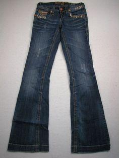 GRACE IN LA  Flap Pockets Thick Stitch Bootcut Jeans Size 5/26 ( Measure 26X34 ) #GraceInLA #BootCut