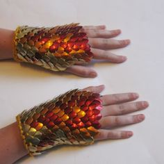Dragonhide Armor Gauntlets Pheonix knitted scale...you know secretly want to where them!