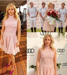 Ellie Goulding wearing Bora Aksu AW16-17  Pink lace dress at Audi Polo Challenge on 29 th May 2016. Ellie recieved flowers in the presence of Prince Harry and Prince William