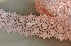 Orange Pink Venice Lace Trim Floral Flower Lace Trim by Lacebeauty, $5.99