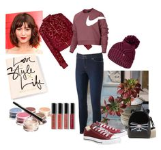 A fashion look from October 2017 featuring long tops, burgundy bomber jacket and zip jeans. Sexy Gifts, Juicy Couture, Bobbi Brown, Converse, Cosmetics, Nike, Polyvore, La Perla, Converse Shoes