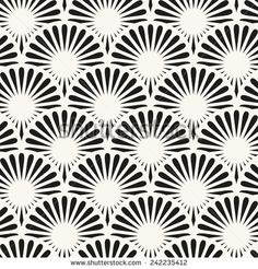 Japanese seamless pattern. Stylish texture with ornate circles. Vector repeating background