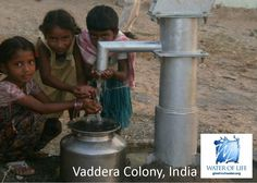 Precious children drinking from a brand new fresh water well at the Ravipadu Cross Road in Vaddera Colony, Andhra Pradesh, India.  Thank God for improved life & health with the gift of fresh water.  www.givefreshwater.org