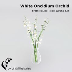 LilyOfTheValley's Round Table Dining - White Oncidium Orchid