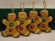 Wood Gingerbread Men Ornaments Set of Four by TheLaughingCabin, $12.95