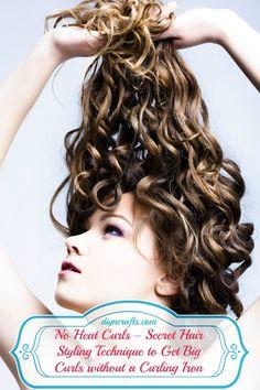 sockbun overnight curls - No Heat Curls – Secret Hair Styling Technique to Get Big Curls without a Curling Iron - DIY & Crafts Curls No Heat, Big Curls, Curls Hair, Braid Hair, Ringlets Hair, Easy Curls, Diy Hairstyles, Pretty Hairstyles, Style Hairstyle