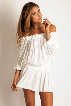 Eco jurken - Ungasan Dress, off shoulder top, peasant dress, - Een uniek product van balitassel op DaWanda