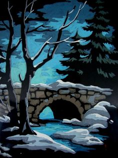 60s Vintage Paint My Number Cold Snowy Night by CherryBerryVintage, $28.00