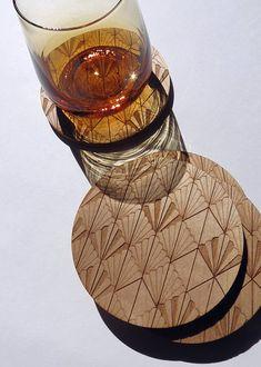 CoastersWood-Pattern-Laser Engraved-ArtDeco-set of 4 by GrainDEEP