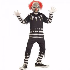 kids Scary Clown Costume Black & White Top,Pants & Glow -n- Dark Mask Size: 8-10 #Generic