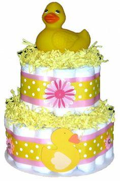 Rubber Duck Baby Diaper Cake | BabyCakesmn - Children's on ArtFire