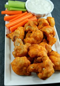 Baked Cauliflower Buffalo Wings with Blue Cheese Dressing ~ tasty and unique