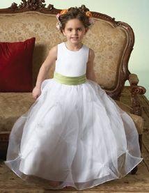 Charming A-Line White Round Collar Sleeveless Green Sash Organza Double Layer Floor Length Flower Girl Dresses FGD012