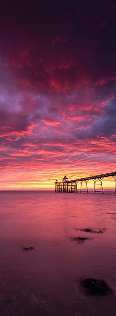 Sunset in Clevedon Pier, Somerset, England