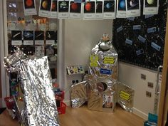 A super Space classroom display photo contribution. Great ideas for your classroom! Space Classroom, Classroom Displays, Classroom Themes, Solar System Activities, Space Activities, Science Display, Space Solar System, Dramatic Play Area, Play Based Learning