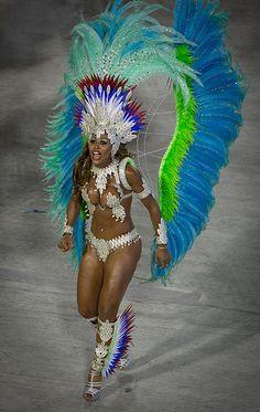 Samba starlet in blue dancing, Rio de Janeiro Carnival Sambodrome