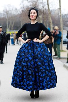 Ulyana Sergeenko, designer in cobalt at Paris Fashion Week 2013